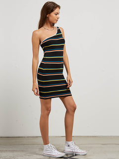Cold Shoulder Dress In Black Stripe, Second Alternate View