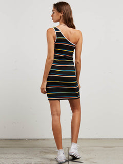 Cold Shoulder Dress In Black Stripe, Back View