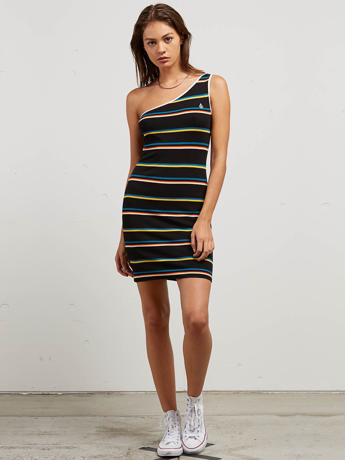 Cold Shoulder Dress In Black Stripe, Front View