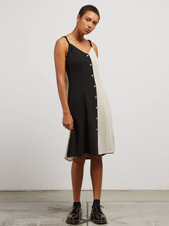 Canary Island Dress In Black Combo, Front View