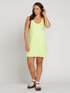 Neon And On Dress In Neon Yellow, Front Extended Size View