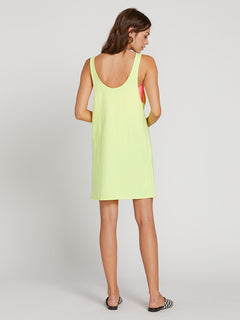 Neon And On Dress In Neon Yellow, Back View