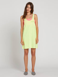 Neon And On Dress In Neon Yellow, Front View