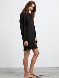 Lived In Lounge Long Sleeve Dress In Black, Alternate View