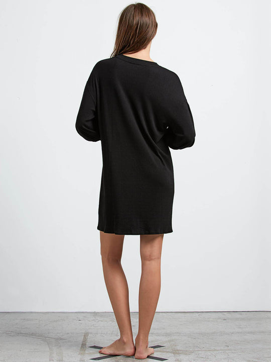 Lived In Lounge Long Sleeve Dress In Black, Back View