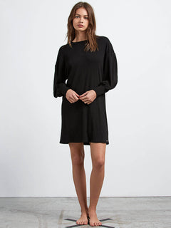 Lived In Lounge Long Sleeve Dress In Black, Front View