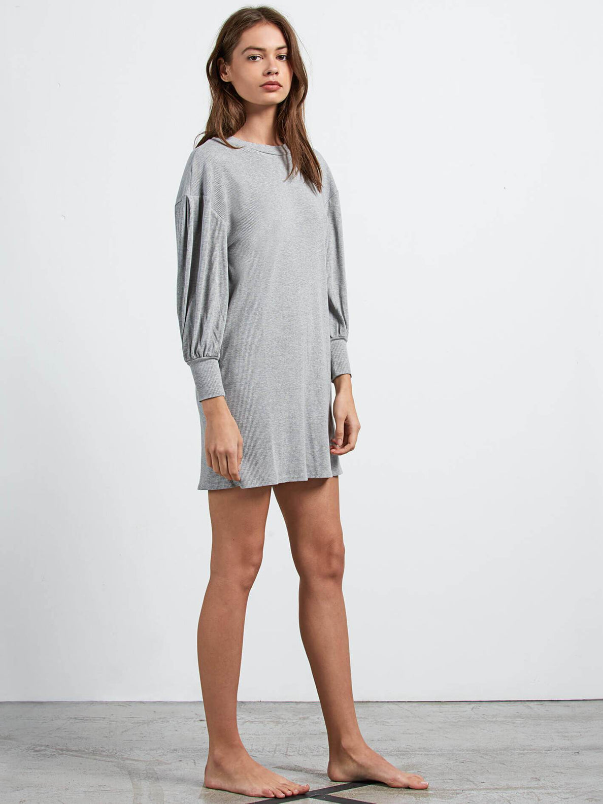 Lived In Lounge Long Sleeve Dress In Heather Grey, Alternate View