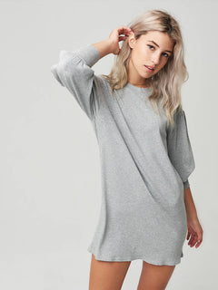 Lived In Lounge Long Sleeve Dress In Heather Grey, Second Alternate View
