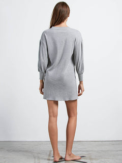 Lived In Lounge Long Sleeve Dress In Heather Grey, Back View