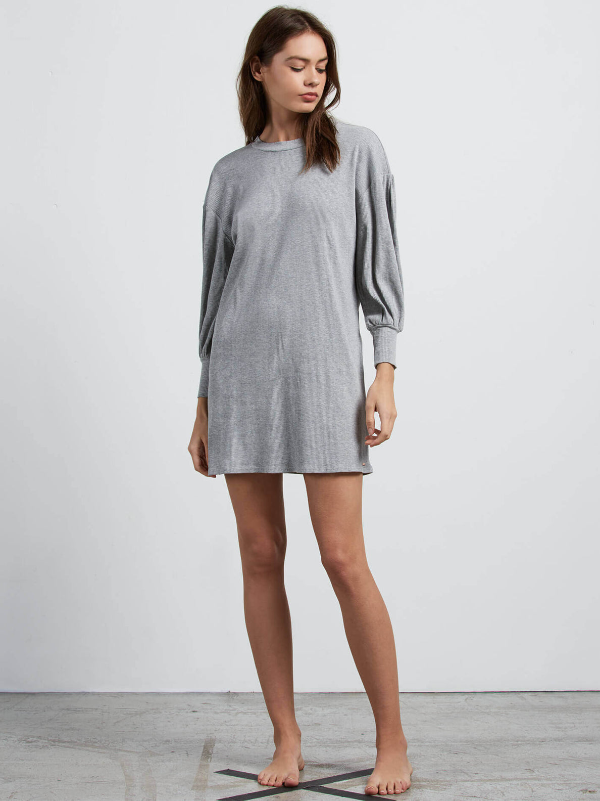 Lived In Lounge Long Sleeve Dress In Heather Grey, Front View