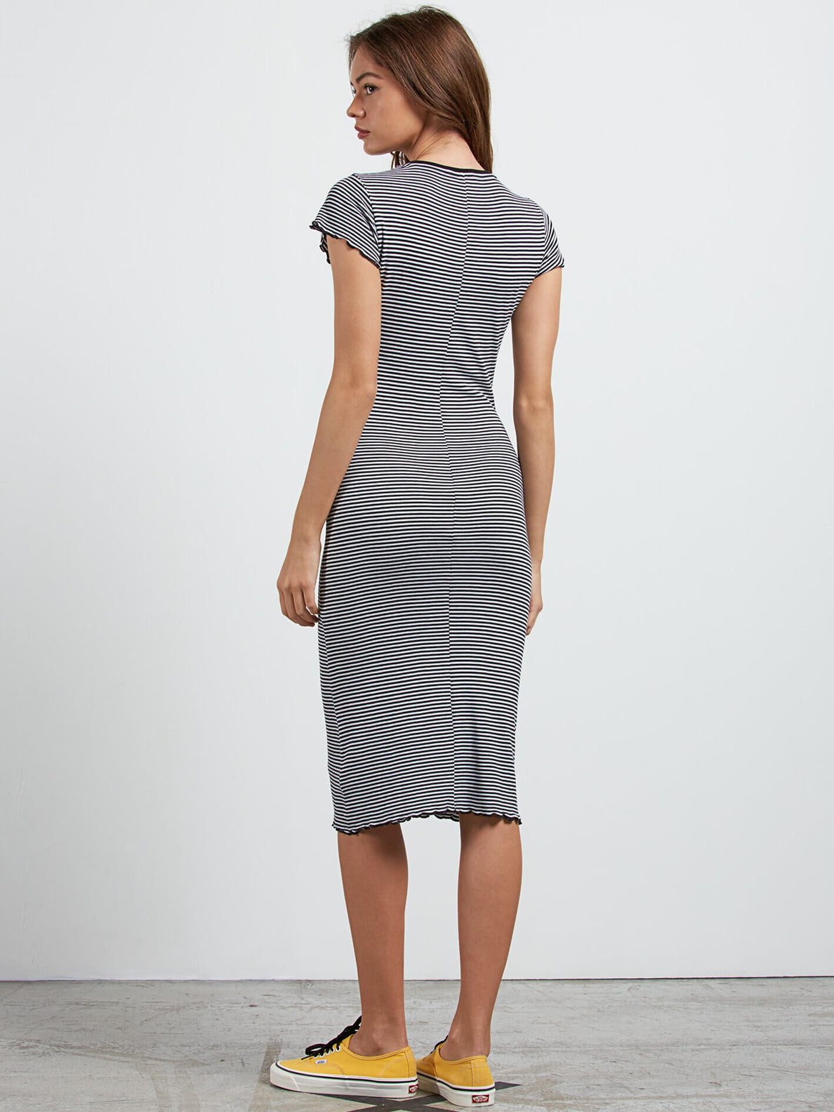 Colder Sholder Dress In Black Combo, Back View