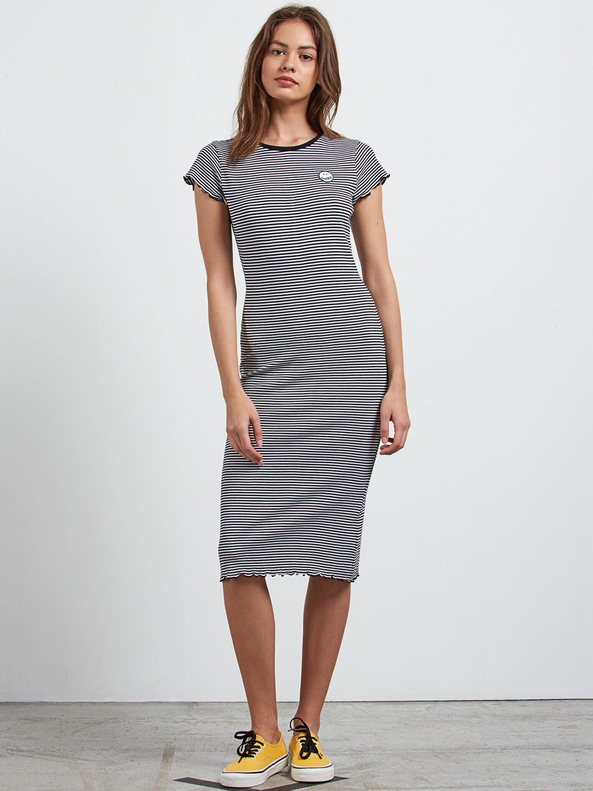 Colder Sholder Dress In Black Combo, Front View