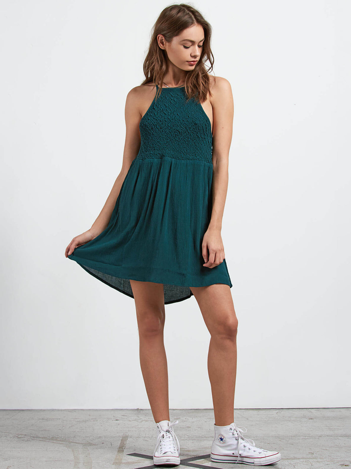 Haute Stone Dress In Evergreen, Front View