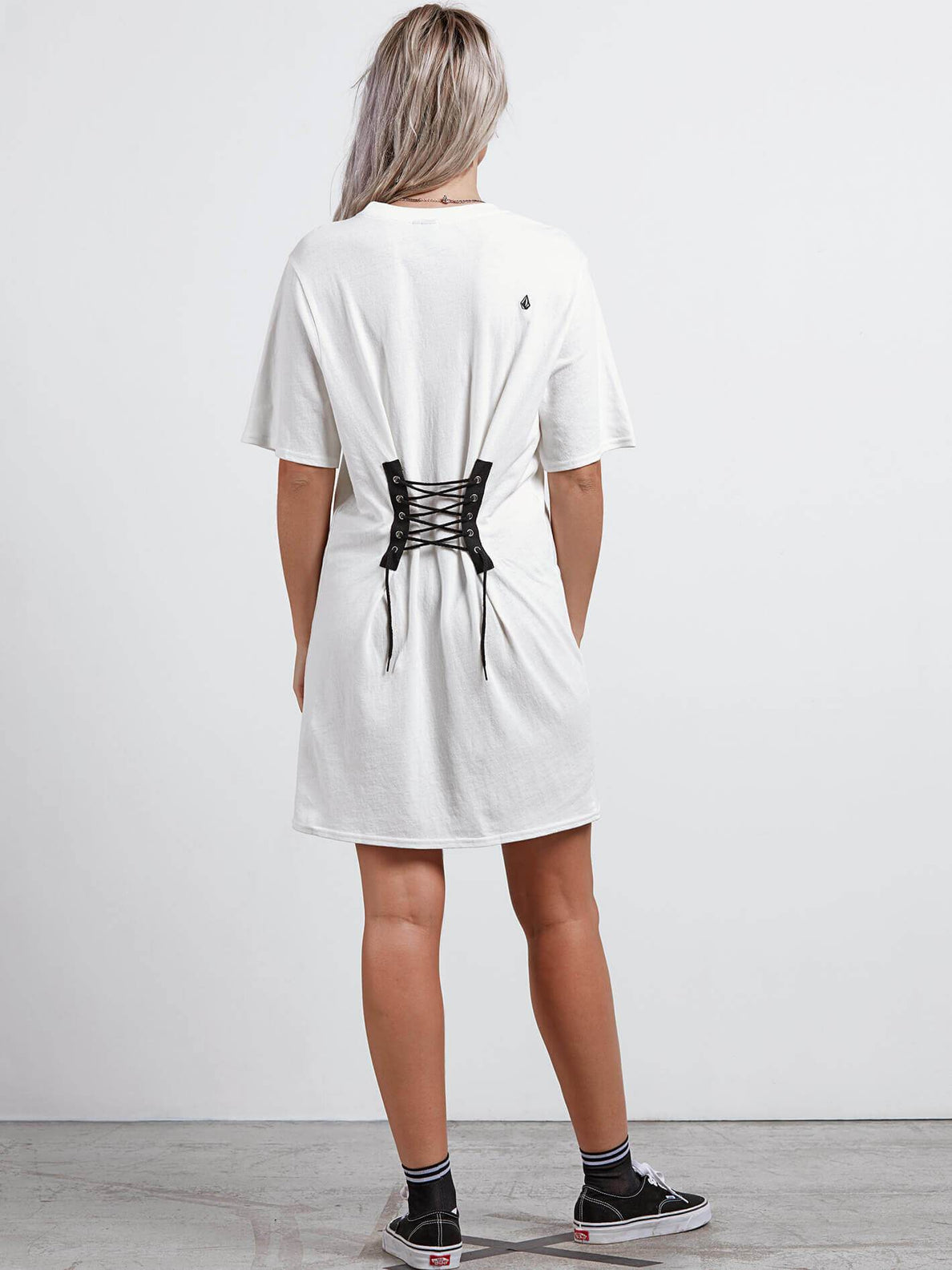 Core Set Dress In White, Back View