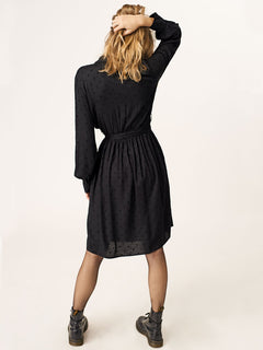 Smoka Dot Dress In Black, Back View