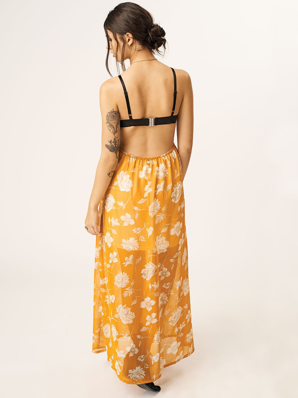 Net Gonna Die Dress In Mustard, Back View