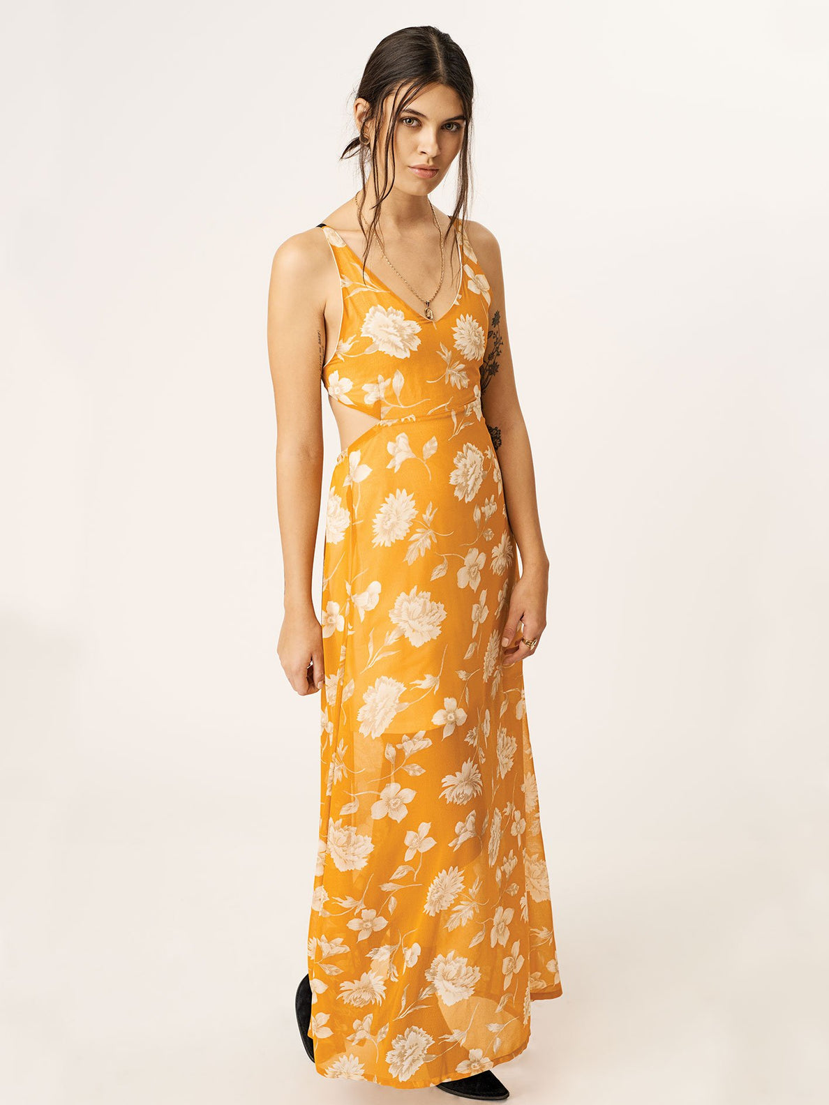 Net Gonna Die Dress In Mustard, Front View