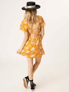Tropickle Dress In Mustard, Back View