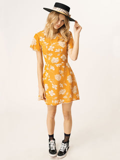 Tropickle Dress In Mustard, Front View