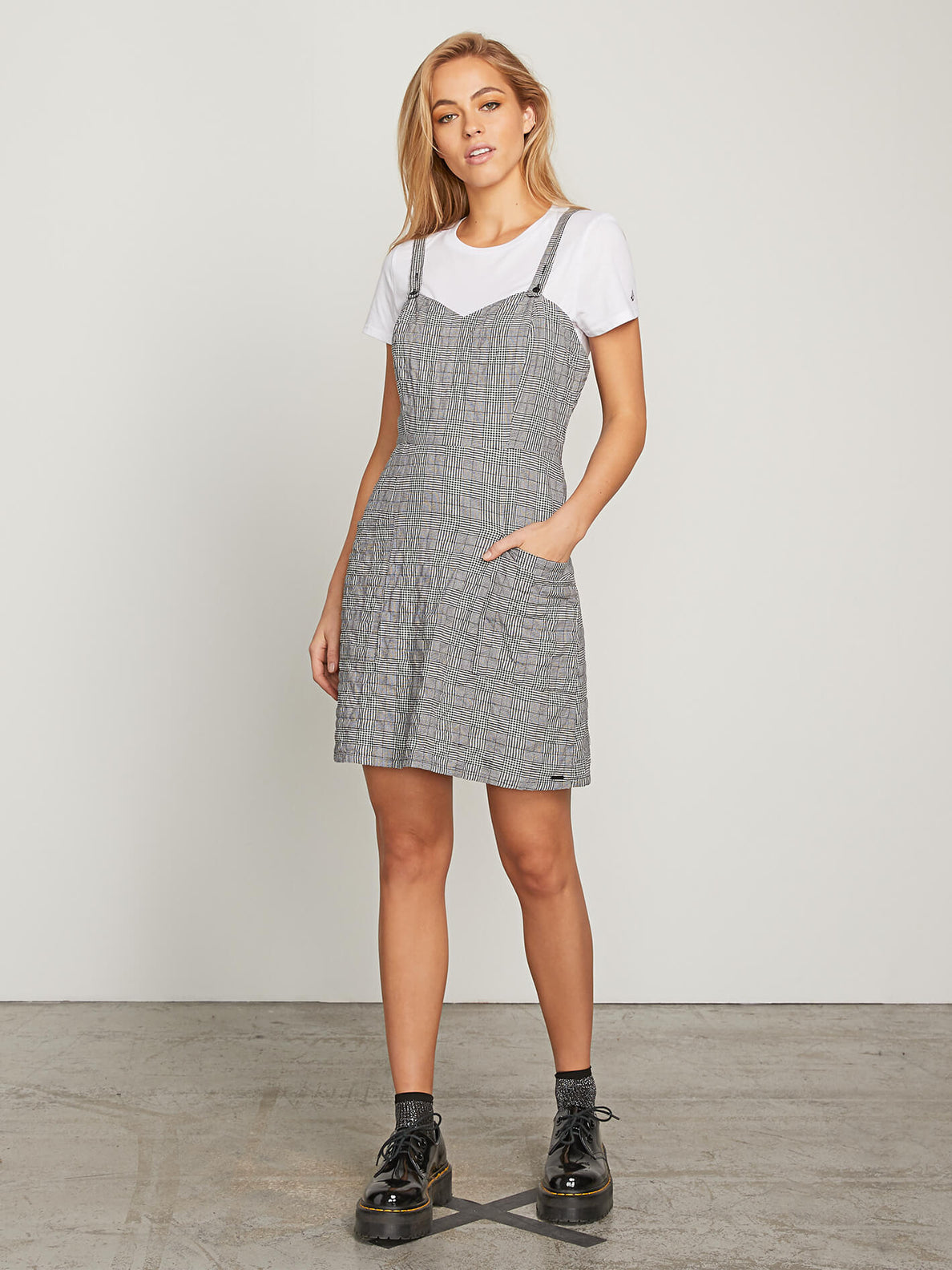Ur A Plaid Girl Dress In Black Combo, Front View