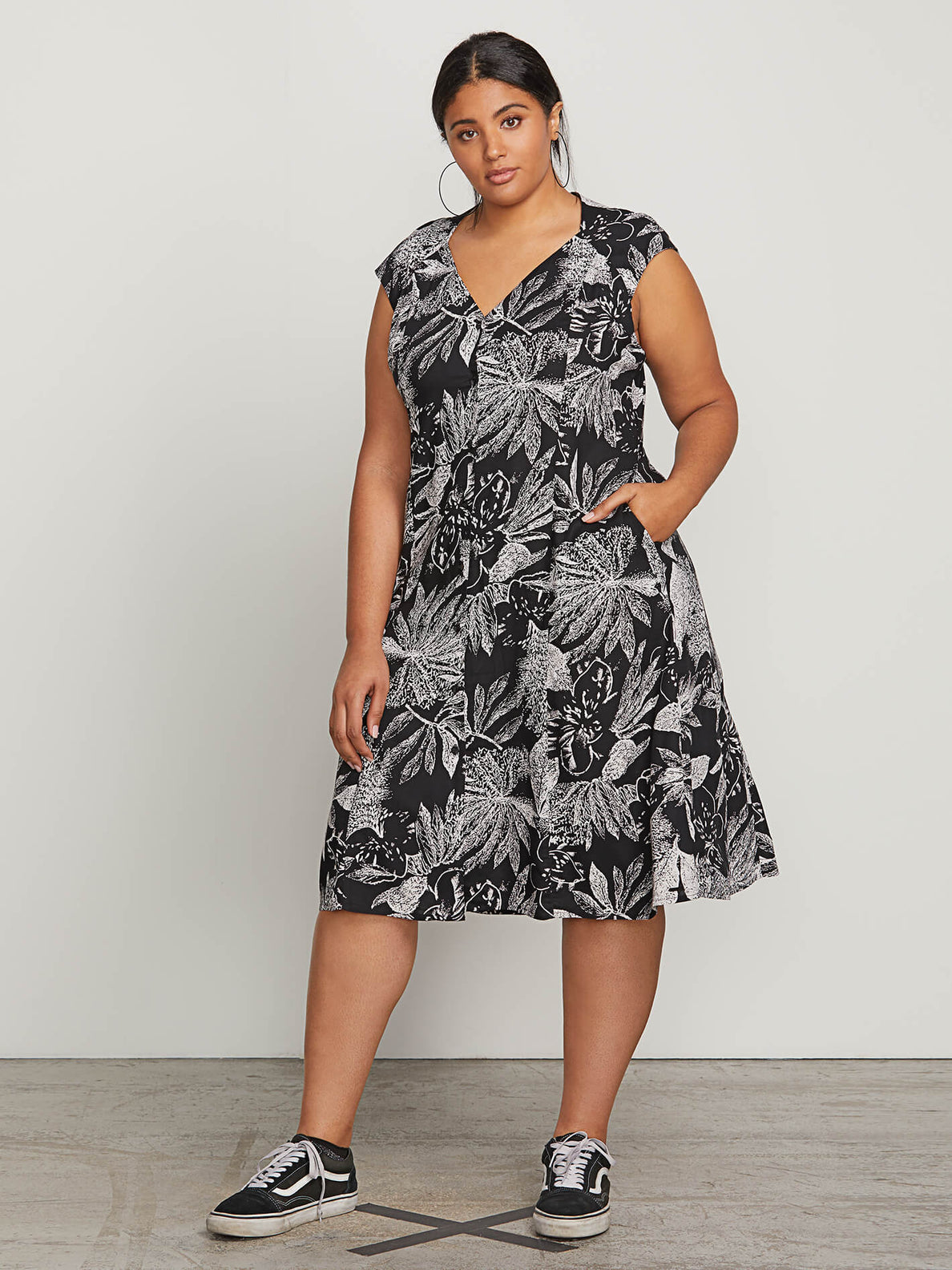 Do Tell Dress In Black Combo, Front Plus Size View