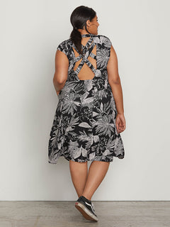 Do Tell Dress In Black Combo, Back Plus Size View