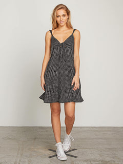 Try The Knot Dress In Black Combo, Front View
