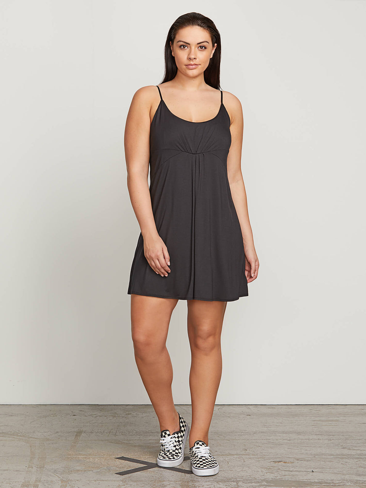 Want My Luv Cami Dress In Black, Front Extended Size View