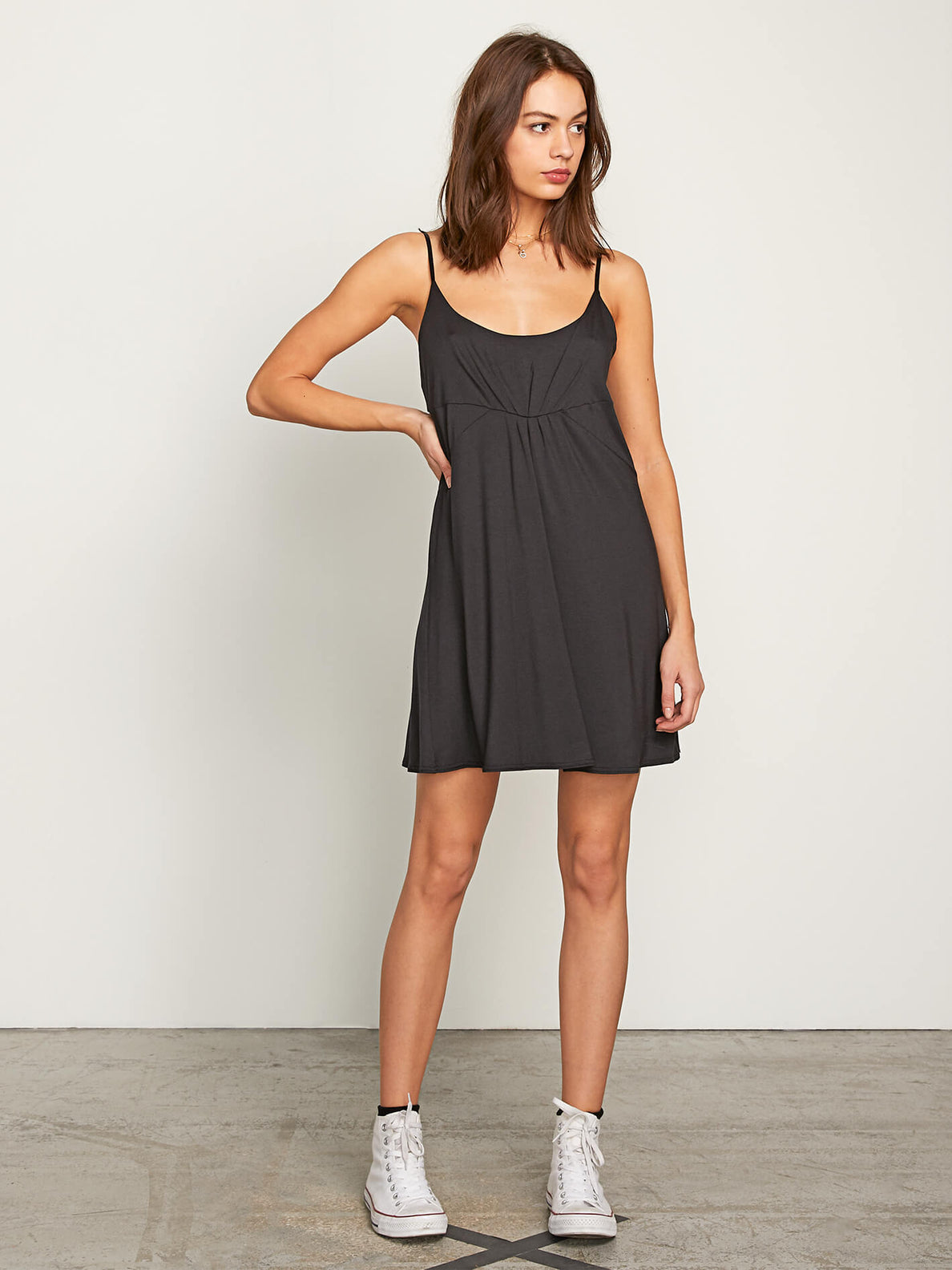 Want My Luv Cami Dress In Black, Front View