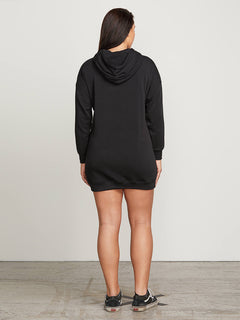 In The Hoodie Dress In Black, Back Extended Size View