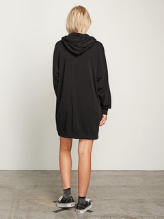 In The Hoodie Dress In Black, Back View