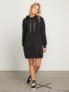 In The Hoodie Dress In Black, Front View