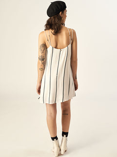Let's Bounce Dress In Star White, Back View
