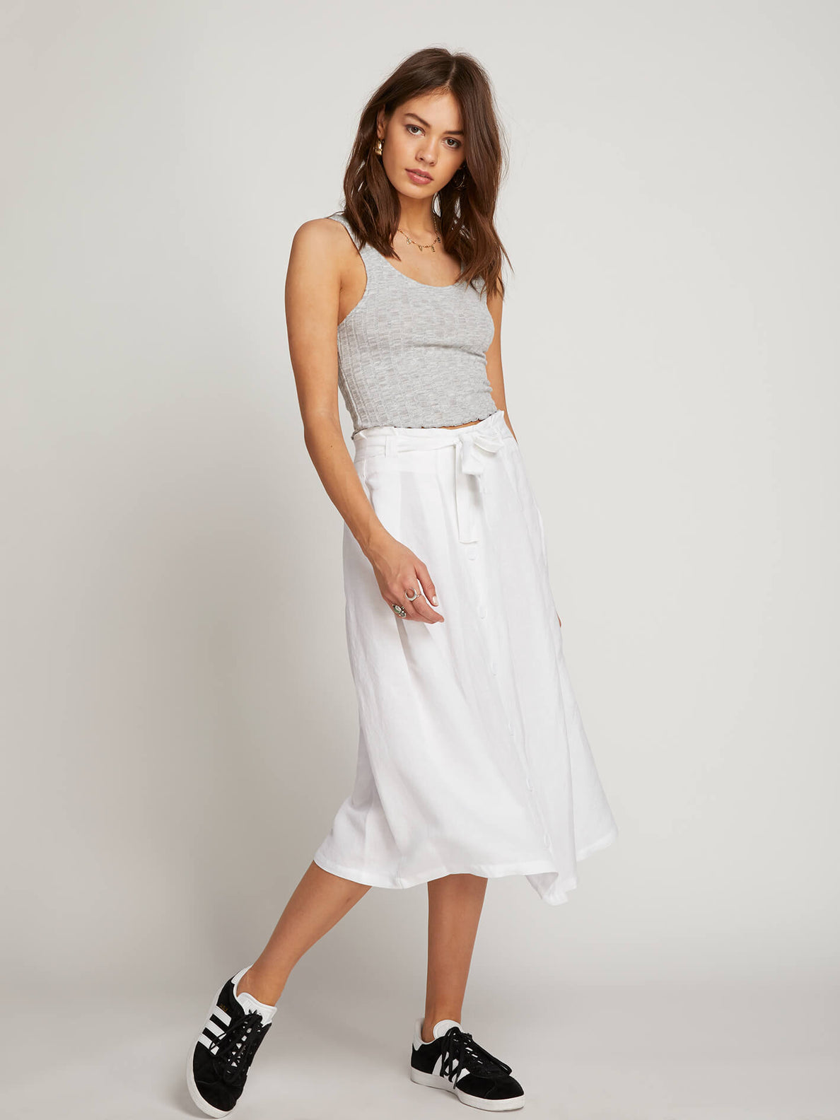 Deep Tracks Skirt In White, Front View