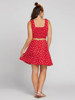 Back N The Daisy Skirt In Rad Red, Back Extended Size View