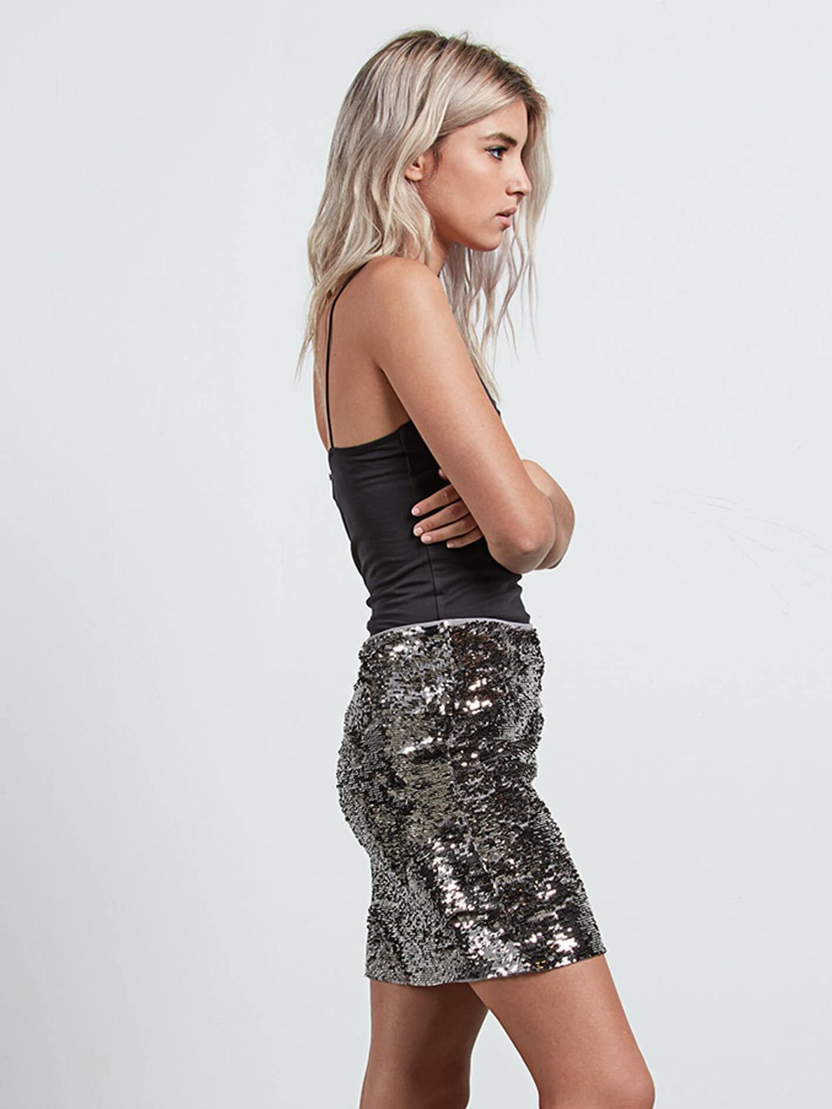 Gmj Silver Skirt In Silver, Alternate View