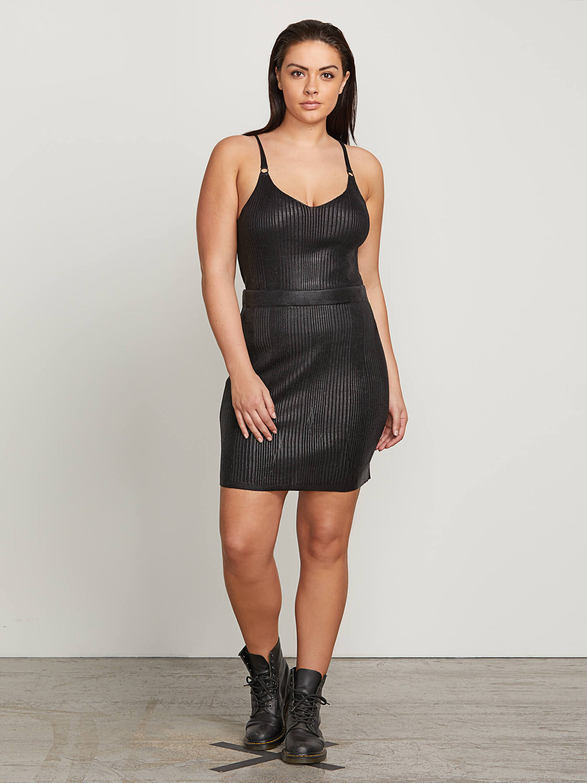 Hey Slick Skirt In Black, Front Extended Size View