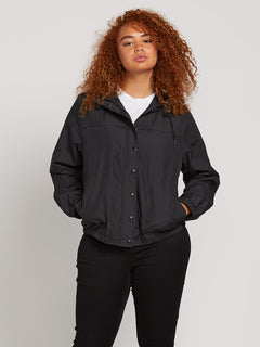 Enemy Stone Jacket In Black, Front Plus Size View
