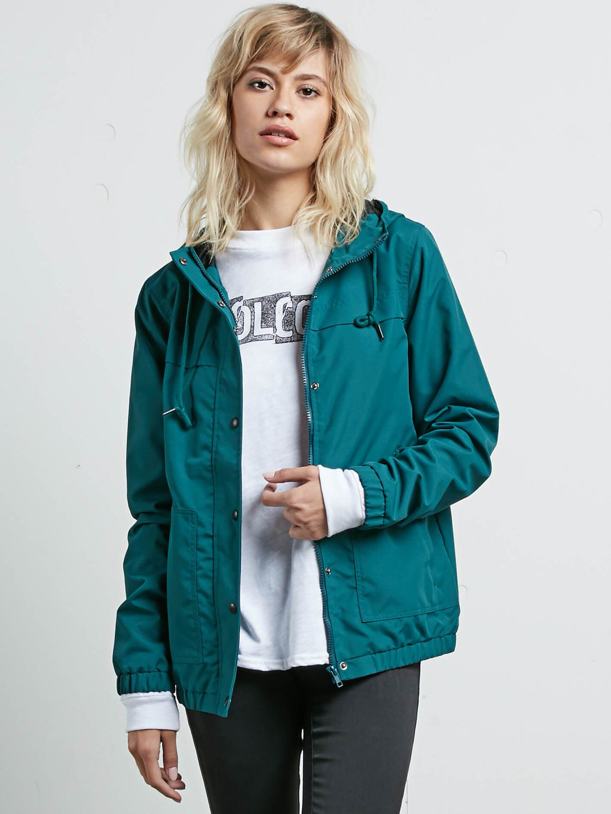 Enemy Stone Jacket In Midnight Green, Front View