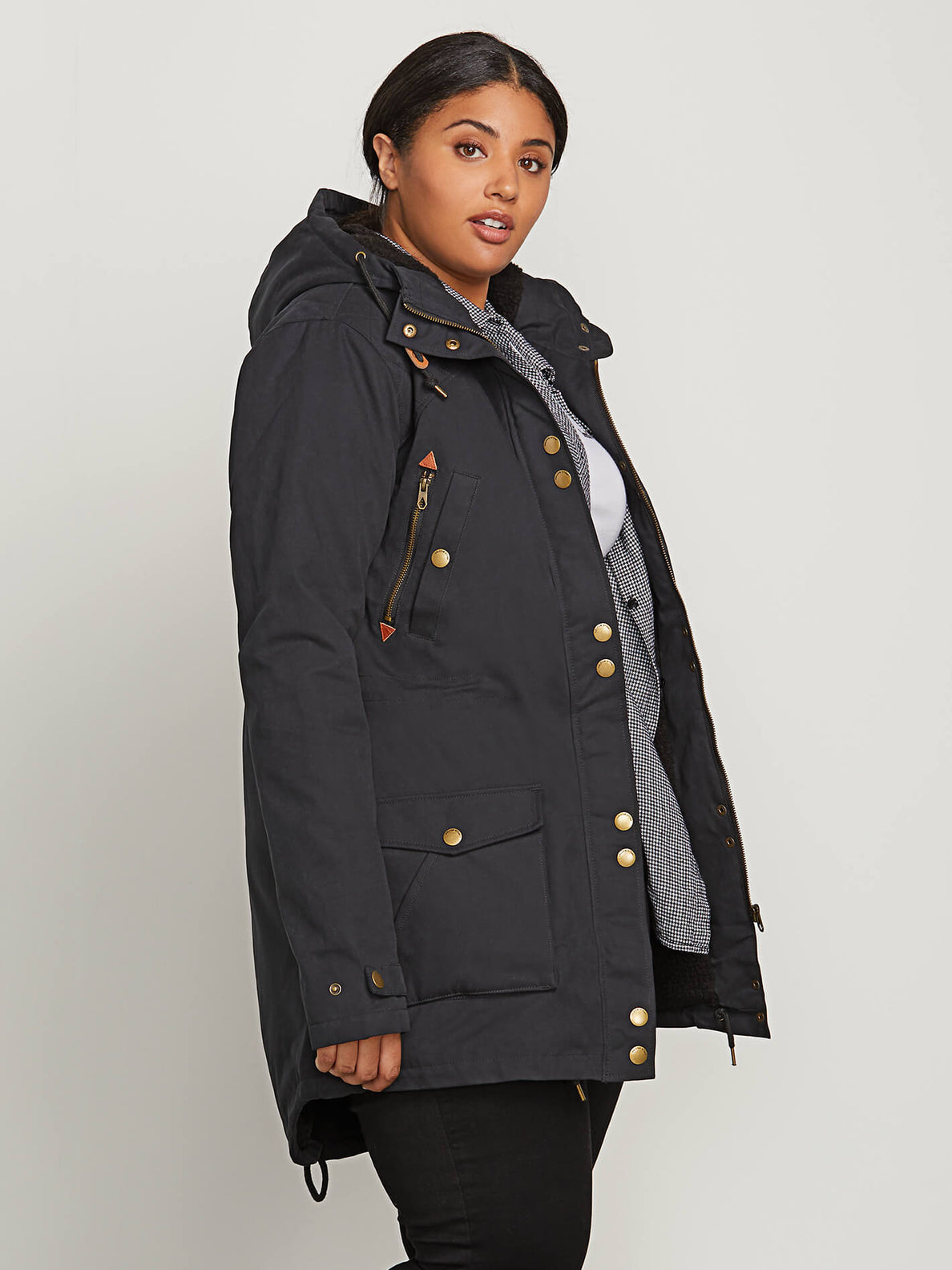 Walk On By Parka In Black, Front Plus Size View