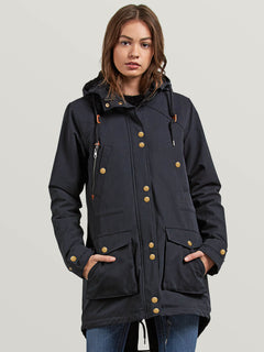 Walk On By Parka In Black, Front View