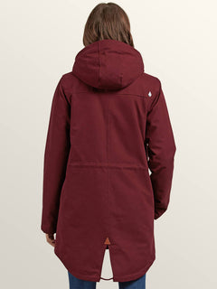 Walk On By Parka In Burgundy, Back View