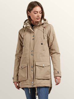 Walk On By Parka In Khaki, Front View