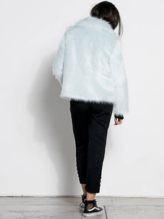 Gmj Fur Coat In Cool Blue, Back View
