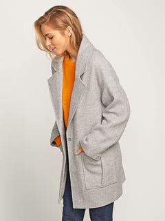 Volcoon Coat In Heather Grey, Alternate View