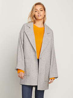 Volcoon Coat In Heather Grey, Second Alternate View