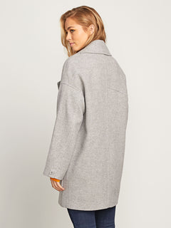 Volcoon Coat In Heather Grey, Back View