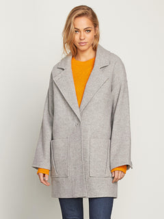 Volcoon Coat In Heather Grey, Front View