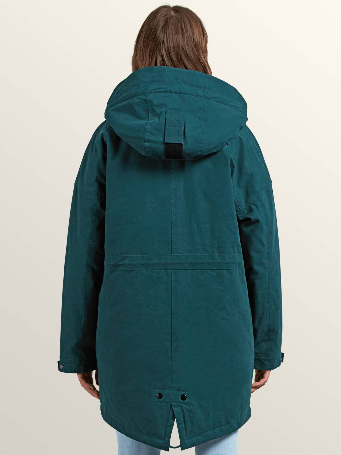 Volcover Parka In Evergreen, Back View