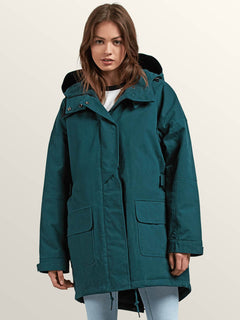 Volcover Parka In Evergreen, Front View